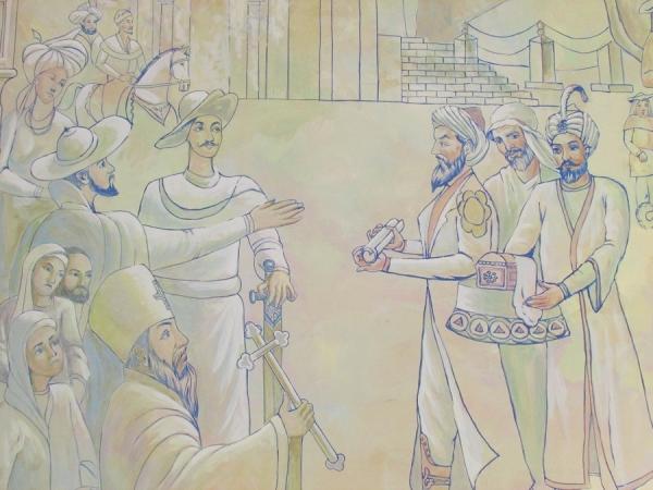 В Самарканде возвели чайхану с уникальной настенной росписью, посвященной Великому Шелковому пути