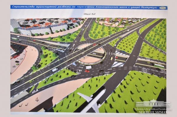 15 путепроводов и трехуровневая транспортная развязка: Президент осматривает стройки столицы