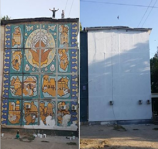 В Ташкенте восстановлено мозаичное панно на торце жилого дома (фото)