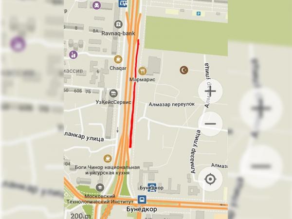 В Ташкенте на несколько часов перекроют часть улицы Фуркат (карта)