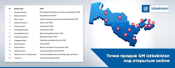 GM Uzbekistan организовал «автосалоны под открытым небом» во всех регионах страны