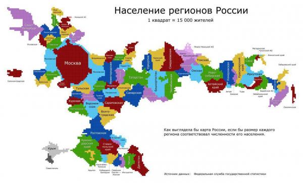 Как выглядела бы карта России, если бы размер каждого региона соответствовал численности его населения