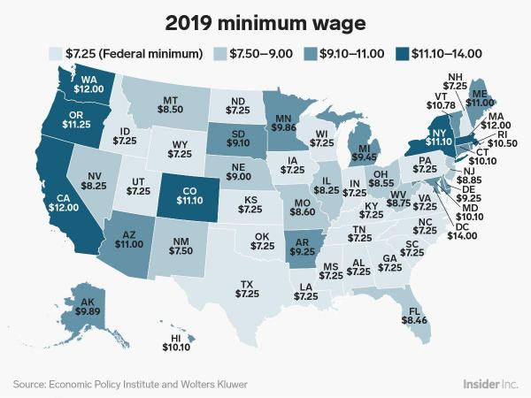 Минимальная заработная плата по всей территории США