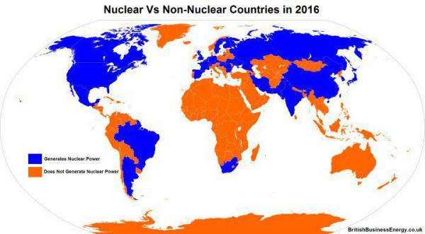 Синий - страны, производящие ядерную энергию. Оранжевый - не производящие