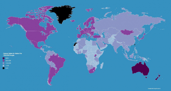 Показатель рака на каждые 100тыс человек