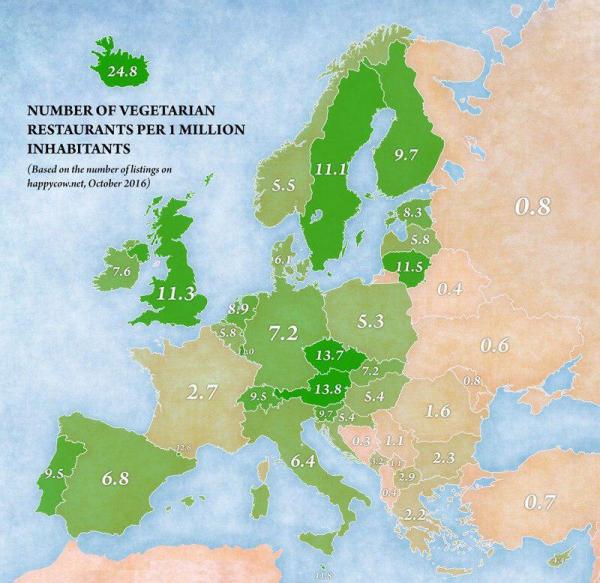 Количество вегетарианских ресторанов на 1 миллион жителей