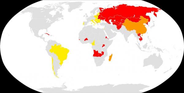 Где празднуют 8 марта: Красный - Выходной  день Оранжевый - Выходной день для женщин Желтый - Отмечается без выходного дня