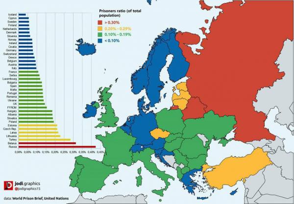 Тюремная карта Европы. Процент заключенных среди жителей европейских стран