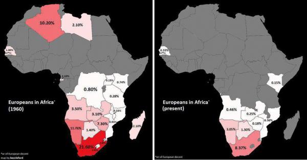 Процент европейцев среди жителей стран Африки в 1960-е и сейчас