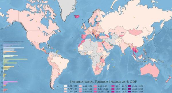 Какой процент в экономике страны составляют доходы от международного туризма?