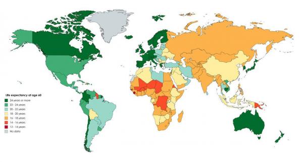 Сколько еще проживут те, кому сейчас 60 лет? Средние данные по странам на карте Мира