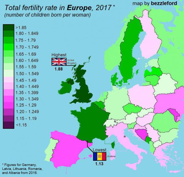 Карта рождаемости в странах Европы. Среднее количество детей рождённых одной женщиной