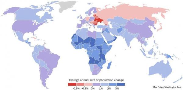 Прогнозируемое изменение в численности населения стран Европы 2017-2050