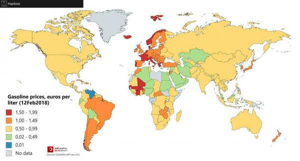 Стоимость бензина в странах Мира, в Евро за 1 литр. Карта с данными на Февраль 2018 года