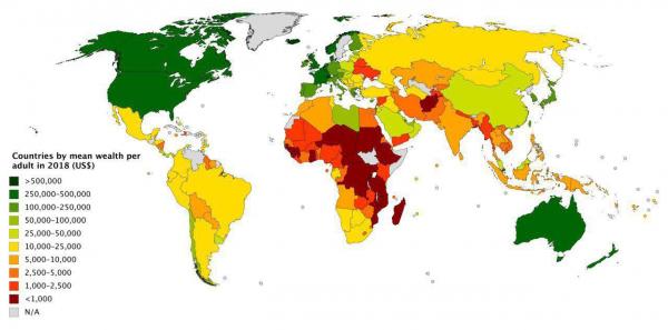 Среднее (не путать с медианным) благосостояние на одного жителя в US$, 2018. Оцените масштаб контрастов