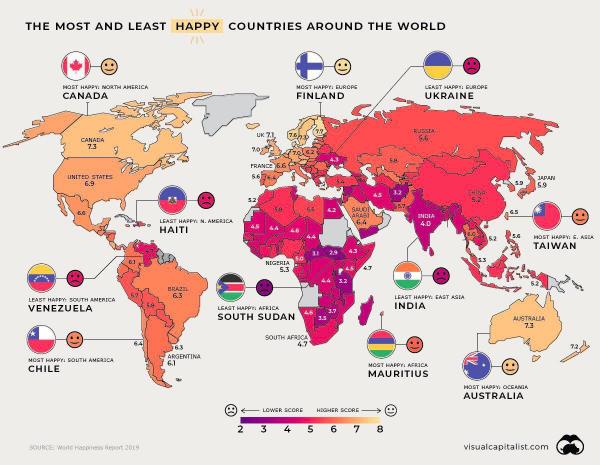 Индекс счастья по странам и регионам мира