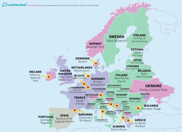 Самые посещаемые достопримечательности в странах Европы