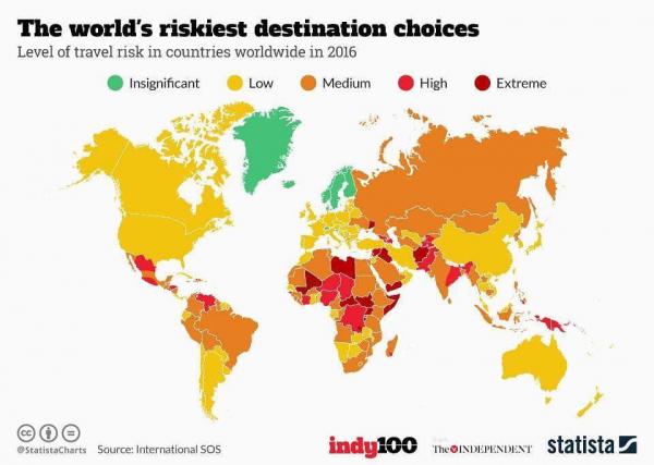 Уровень риска посещения стран мира. Скандинавские страны самые безопасные
