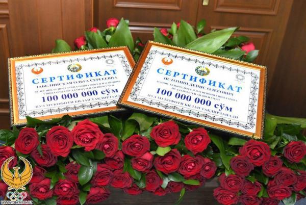 Троим обладателям Олимпийских лицензий вручили по 100 миллионов сумов