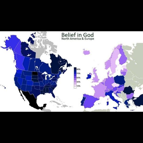 Процент верующих в Северной Америке и Европе