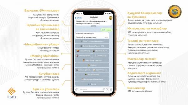 Данные о школах и других объектах системы МНО можно получить через Telegram-бот