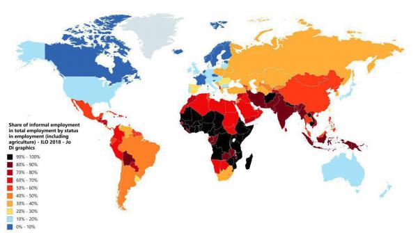 Процент неофициально трудоустроенных работников от общего количества работающего населения