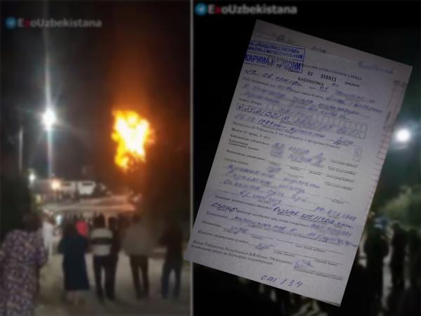 В Ташкенте автомобиль врезался в газопровод, вызвав пожар