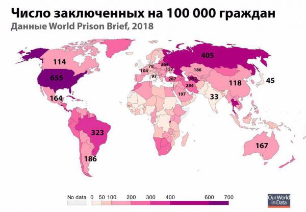 Число заключенных в странах на 100 000 граждан
