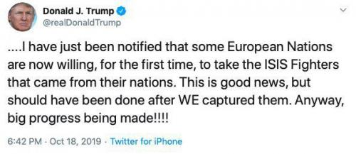 Трамп пишет  о желании стран Европы забрать боевиков ИГ из Сирии