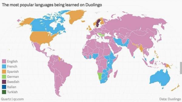 Самый популярный язык для изучения в Duolingo (приложения для изучения языка) в мире