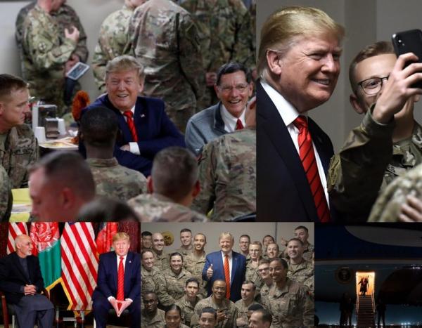 Дональд Трамп кутилмаганда Афғонистонга ташриф буюрди (видео, фото)
