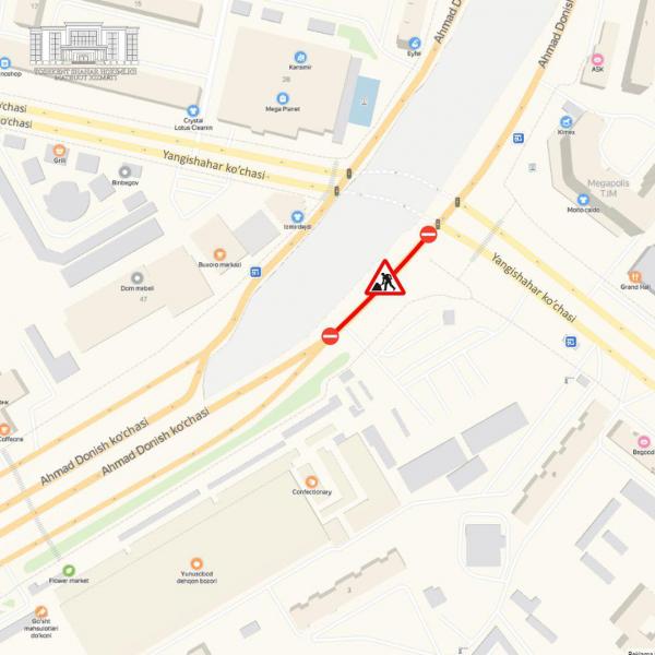 Улицу Ахмада Дониша в Ташкенте перекроют до 12 декабря (карта)