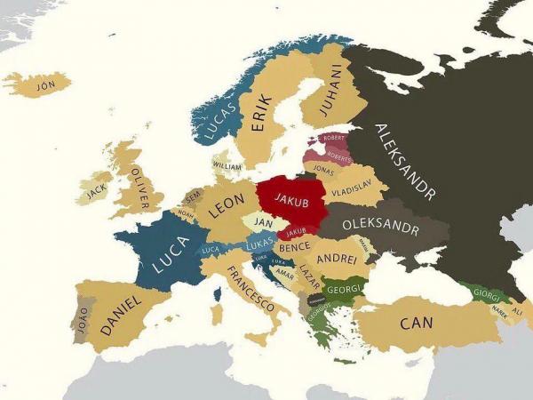Самое популярное имя в странах Европы