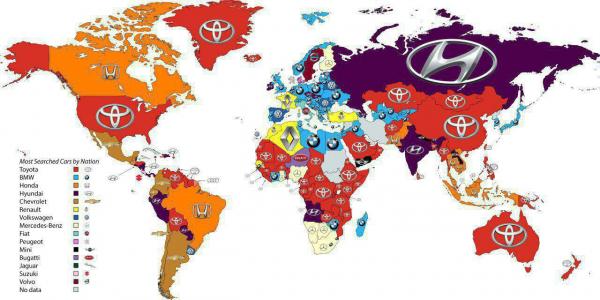 Какие автомобильные бренды чаще всего гуглят жители разных стран