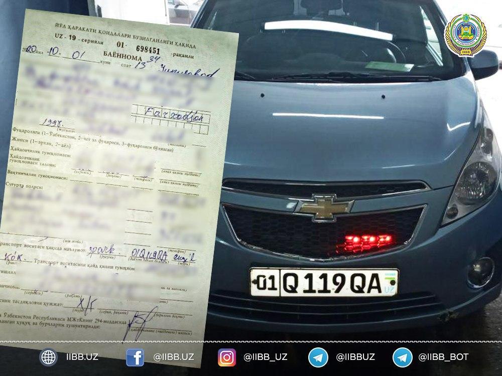 В Ташкенте за установку звуковых и световых устройств на авто оштрафован водитель