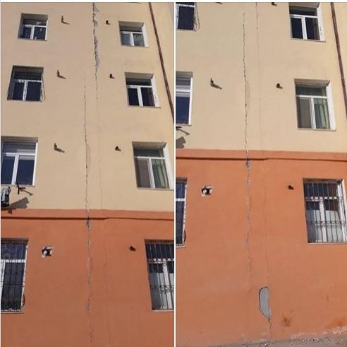 На новом доме в Нукусе появились трещины, которые тянутся с первого по пятый этажи