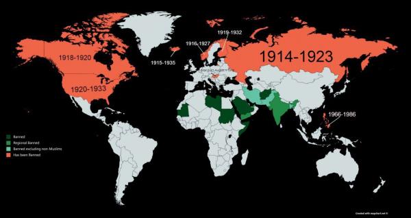 Страны, которые имели или имеют запрет на употребление алкоголя