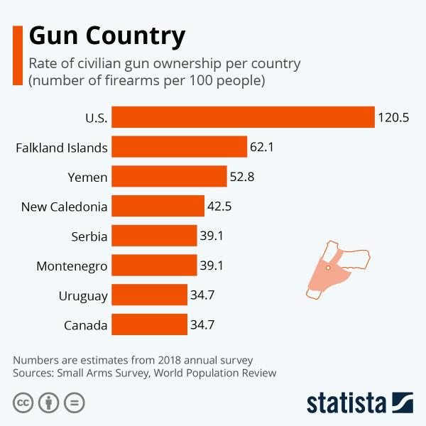Количество единиц оружия на 100 человек населения в странах мира
