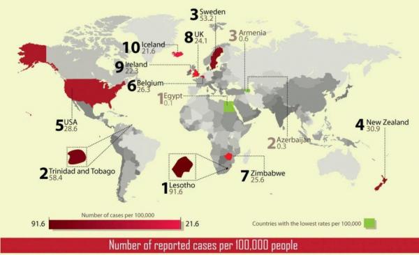 Карта показывает 10 стран с самыми высокими зарегистрированными случаями изнасилования.