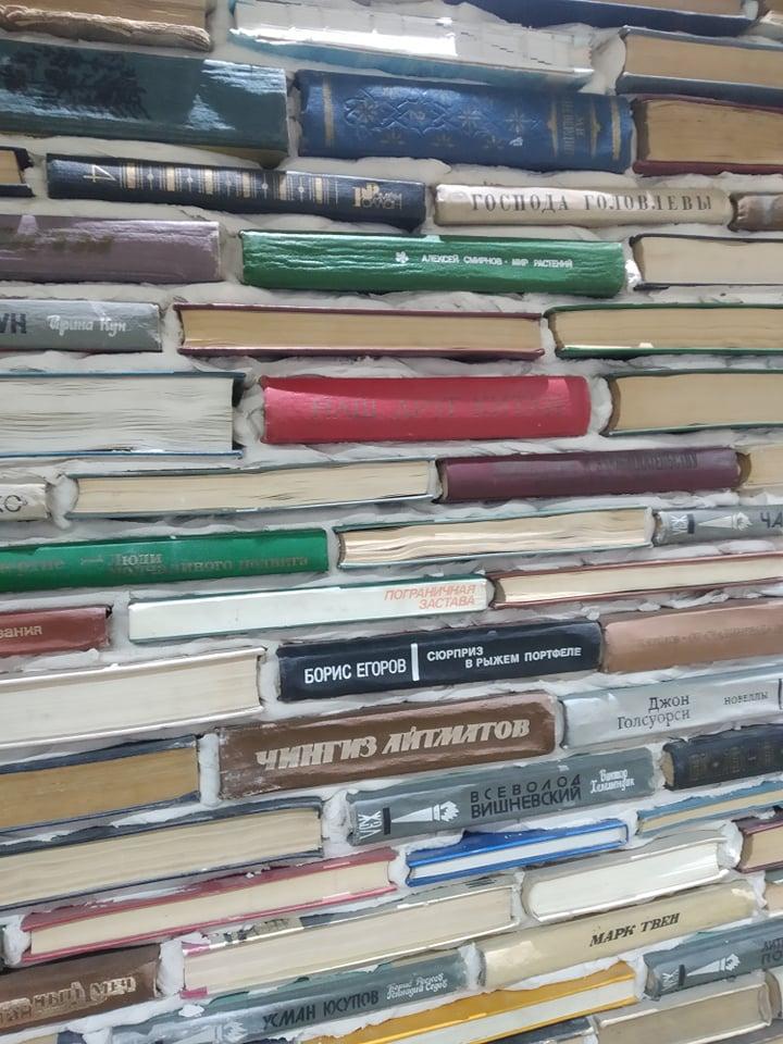 Пользователи сети в шоке от стены, созданной из книг великих писателей в городе Ош