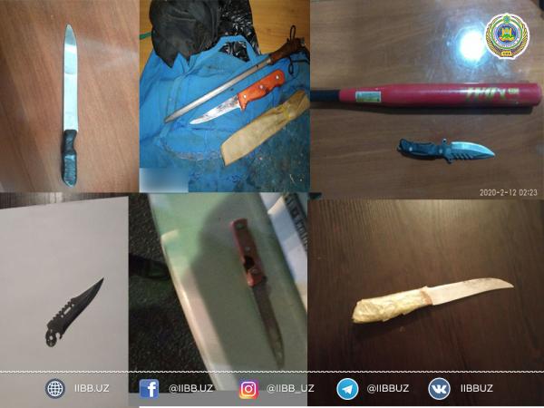 Очередной рекорд ГУВД: за два дня в карманах и машинах ташкентцев найдены 224 ножа (фотолента)