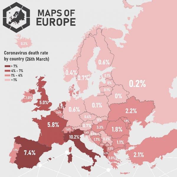 Коэффициент смертности от коронавируса по странам