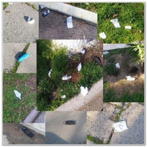 Маски и салфетки: на улицах городов всё больше опасного мусора, который может переносить коронавирус (видео)