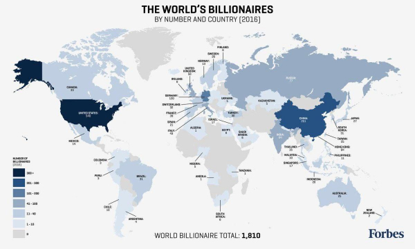Количество миллиардеров в мире на 2016 год